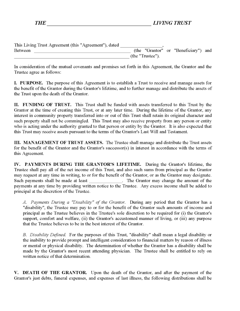 Declaration of Trust Form